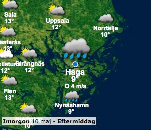 Väder för Tough Viking 2014 10 maj hagaparken