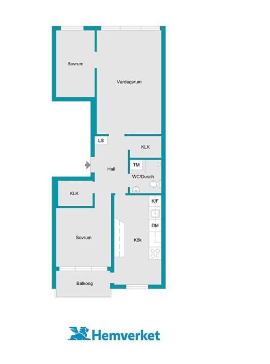 planritning bostadsrätt tre rum och kök